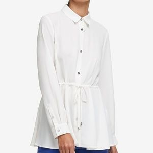 DKNY Drawstring Shirt Ivory L